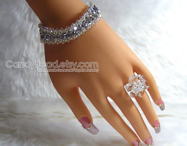 Swarovski Bracelet; Crystal Bracelet; Glass Bracelet; Silver and Clear White