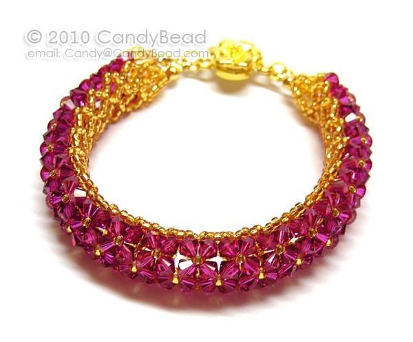 Swarovski Bracelet; Crystal Bracelet; Glass Bracelet; Fuchsia Swarovski Crystal