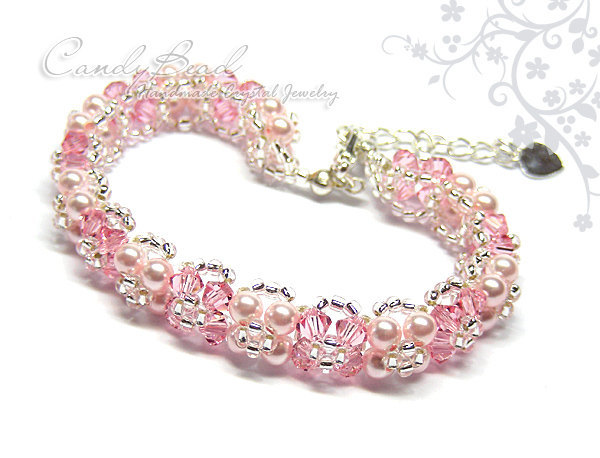 Swarovski Bracelet; Crystal Bracelet; Glass Bracelet; Rosy Rose Crystal Bracelet