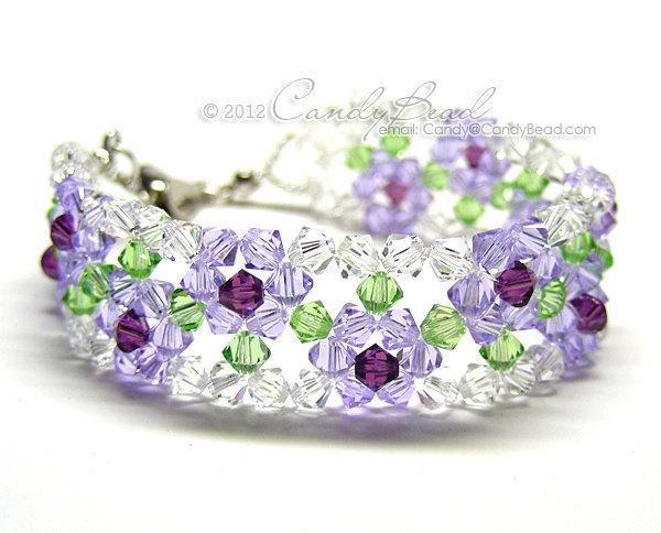 Swarovski Bracelet; Crystal Bracelet; Glass Bracelet; Purple Rose Swarovski