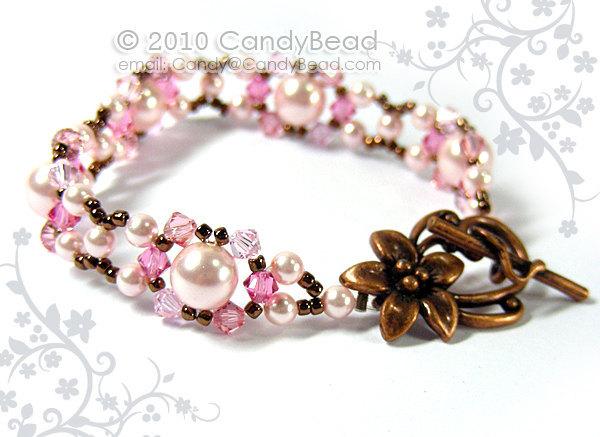 Swarovski Bracelet; Crystal Bracelet; Glass Bracelet; Rosy Pink Swarovski Pearl