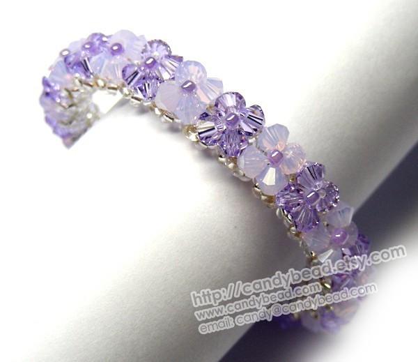 Swarovski Bracelet; Crystal Bracelet; Glass Bracelet; Violet and Opal Swarovski