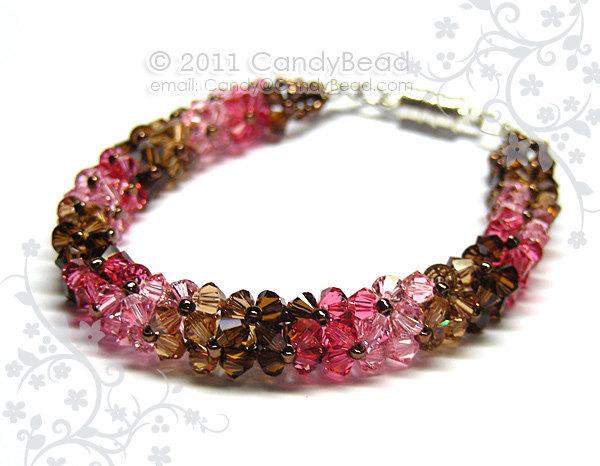 Swarovski Bracelet; Crystal Bracelet; Glass Bracelet; Luxurious Coco Raspberry