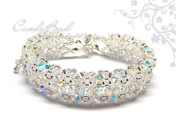 Swarovski Bracelet; Crystal Bracelet; Glass Bracelet; Snow Ice Swarovski Crystal
