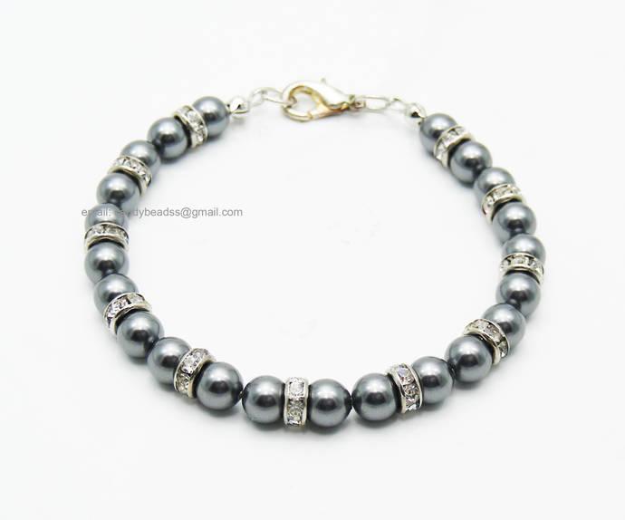 Beaded bracelet; Swarovski bracelet;Friendship bracelet;Dark gray pearl