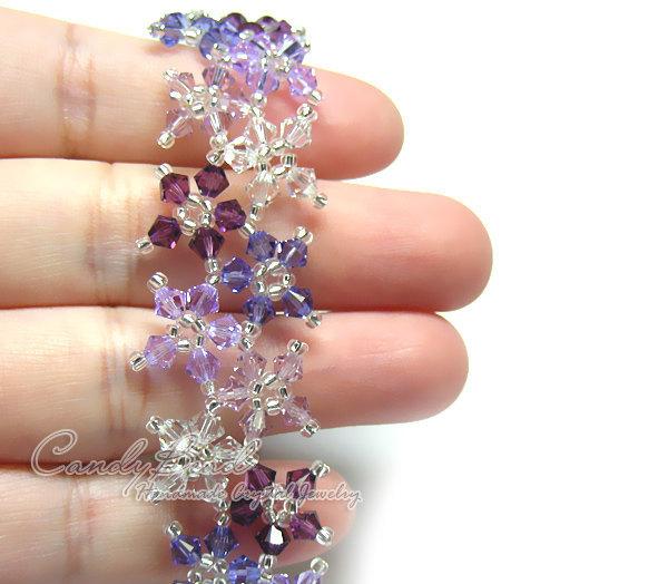 Swarovski Bracelet; Crystal Bracelet; Glass Bracelet; Sweet Purple Shade