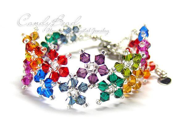 Rainbow bracelet; crystal bracelet; Swarovski bracelet; Glass bracelet;Dark