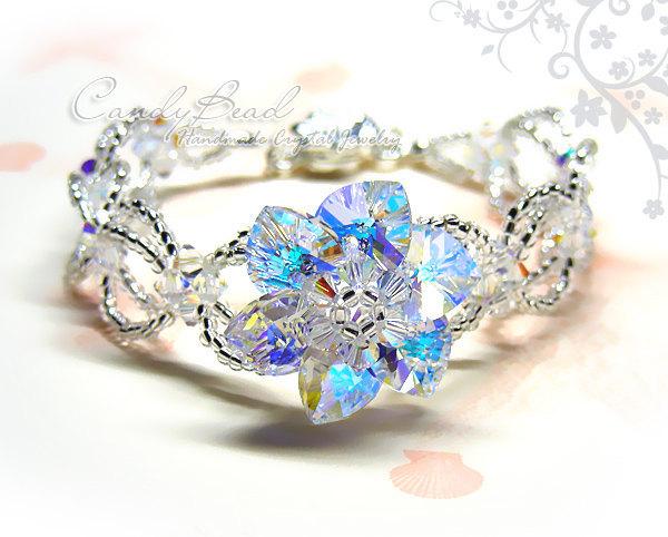 Swarovski Bracelet; Crystal Bracelet; Glass Bracelet; Sparkling Flower Swarovski