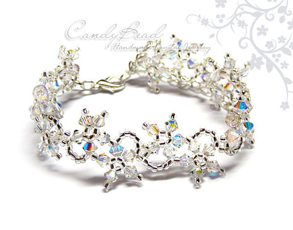 Swarovski Bracelet; Crystal Bracelet; Glass Bracelet; Flower Ice Swarovski