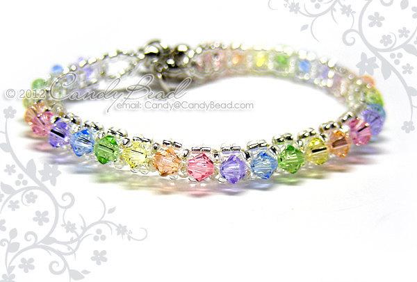 Rainbow bracelet; crystal bracelet; Swarovski bracelet; Glass bracelet;Swarovski