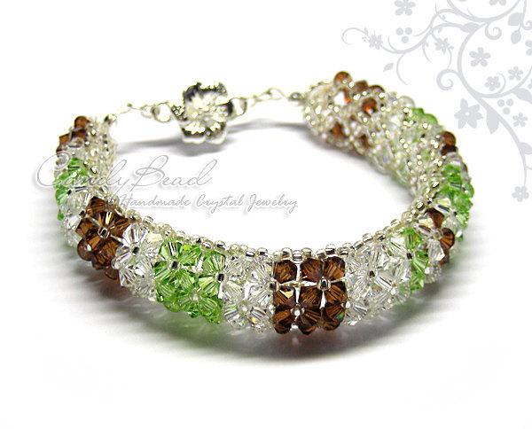 Swarovski Bracelet; Crystal Bracelet; Glass Bracelet; Choco-Mint Swarovski