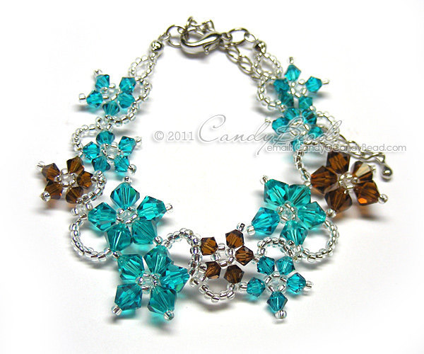 Swarovski Bracelet; Crystal Bracelet; Glass Bracelet; Flora bracelet teal and