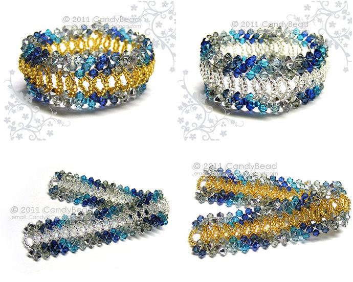 Swarovski Bracelet; Crystal Bracelet; Glass Bracelet; Silver and Gold Navy Blue