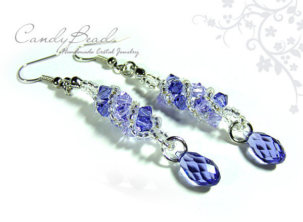 Swarovski earrings;crystal earrings;Purple and Lavender Twisty Swarovski Crystal