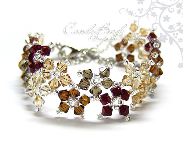 Swarovski Bracelet; Crystal Bracelet; Glass Bracelet; Sweet Neutral Brown