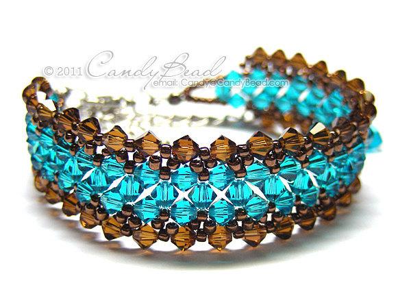 Swarovski Bracelet; Crystal Bracelet; Glass Bracelet; Teal and Brown crystal