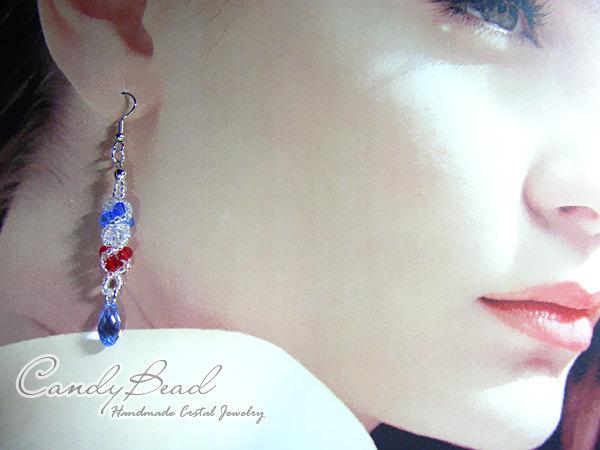 Swarovski earrings;crystal earrings;Red, White and Blue Twisty Genuine Swarovski