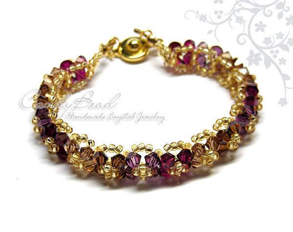 Swarovski Bracelet; Crystal Bracelet; Glass Bracelet; Gorgeous Gold-Dark Colors