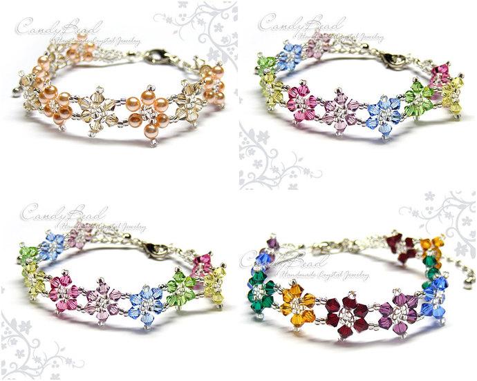 Rainbow bracelet; crystal bracelet; Swarovski bracelet; Glass bracelet;Flower