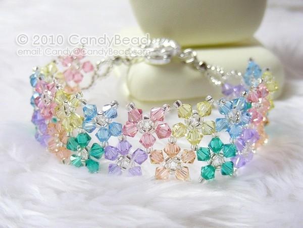 Rainbow bracelet; crystal bracelet; Swarovski bracelet; Glass bracelet;Sweet