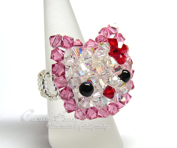 Swarovski Ring;crystal ring;Swarovski ring, Cutie Kitty Cat Ring