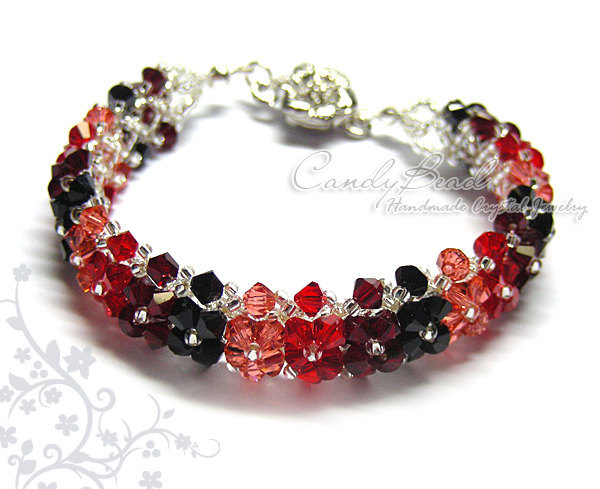 Swarovski Bracelet; Crystal Bracelet; Glass Bracelet; Black and Red Swarovski