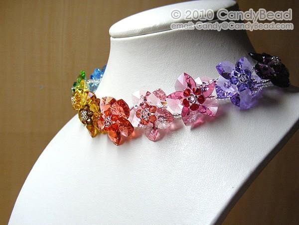 Crystal Necklace; Swarovski Necklace; Glass Necklace; Sweet Rainbow Flowers