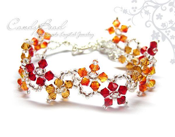 Fire Flower Dancing Swarovski Crystal Bracelet with adjustable clasp by