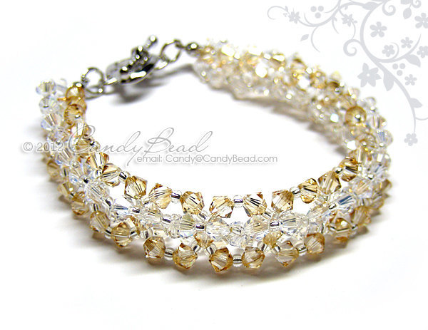 Crystal Bracelet; Swarovski Bracelet; Glass Bracelet; Moonlight and Golden