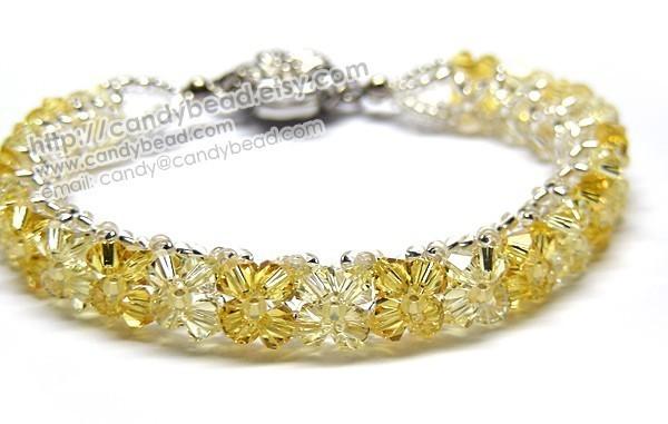 Crystal Bracelet; Swarovski Bracelet; Glass Bracelet; Bright Light Topaz
