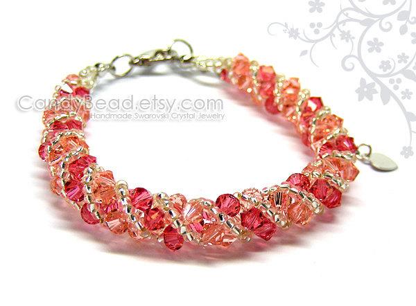 Crystal Bracelet; Swarovski Bracelet; Glass Bracelet; Sweet Raspberry twisty