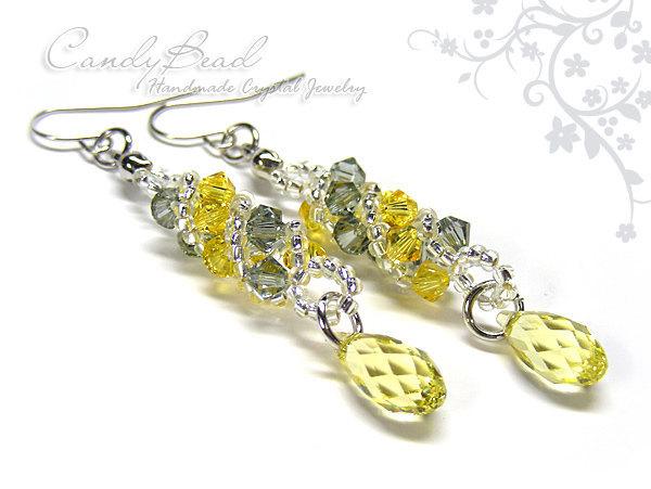 Swarovski earrings;crystal earrings; Yellow and Gray Twisty Swarovski Crystal by