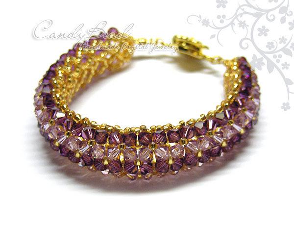 Crystal Bracelet; Swarovski Bracelet; Glass Bracelet; Purple and Violet