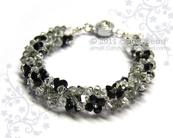 Crystal Bracelet; Swarovski Bracelet; Glass Bracelet; Luxurious Black Floral