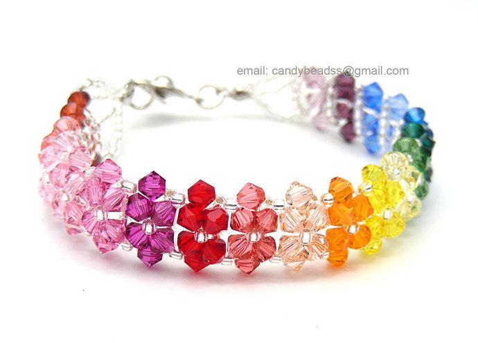 Rainbow bracelet; crystal bracelet; Swarovski bracelet; Glass bracelet;Spectrum
