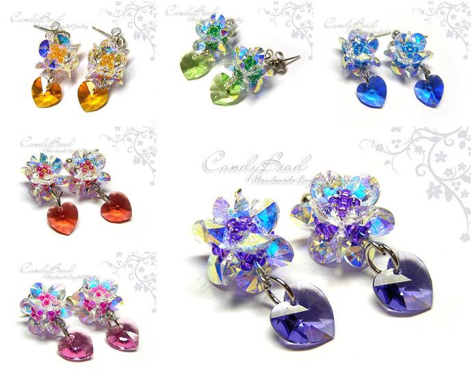 Swarovski Crystal Earrings - Flowers and heart --very charming - (E016-02)
