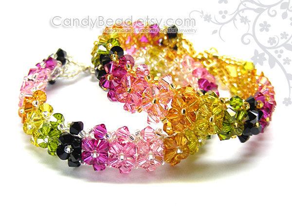 Rainbow bracelet; crystal bracelet; Swarovski bracelet; Glass bracelet;Luxurious
