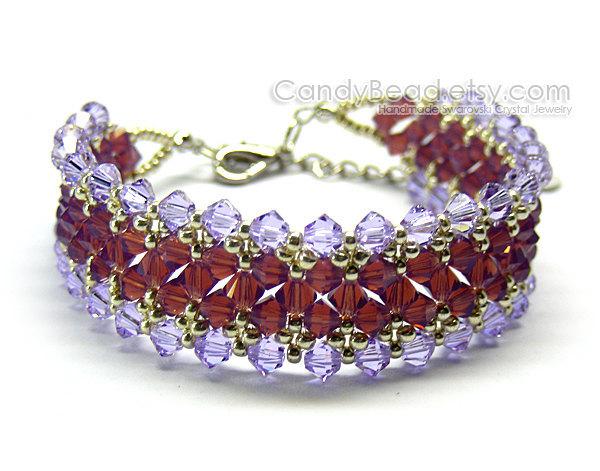 Crystal Bracelet; Swarovski Bracelet; Glass Bracelet; Purple and Cyclamen Opal