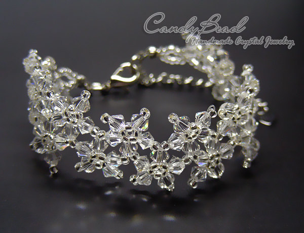 Crystal Bracelet; Swarovski Bracelet; Glass Bracelet; Pure White Multiflora