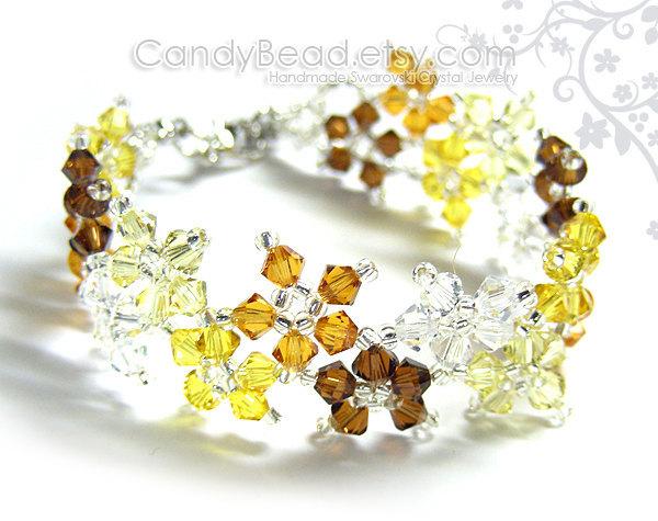 Crystal Bracelet; Swarovski Bracelet; Glass Bracelet; Yellow shade twisty