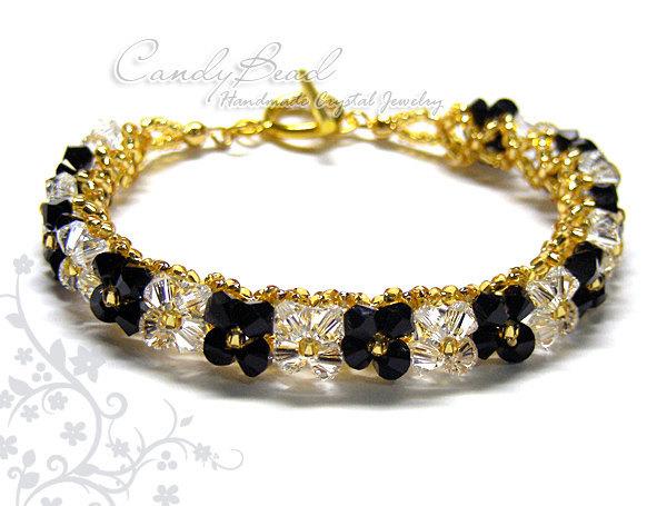 Crystal Bracelet; Swarovski Bracelet; Glass Bracelet; Black and White Swarovski