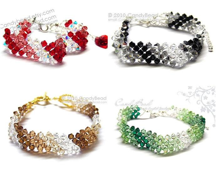 Crystal Bracelet; Swarovski; Glass; Fresh Green Peridot, Light Red, Topaz, Black