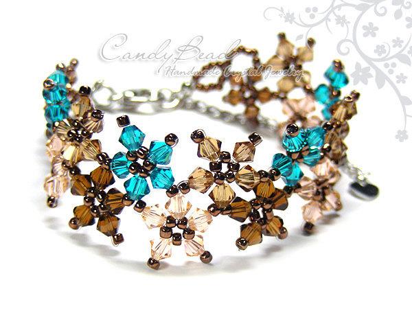 Crystal Bracelet; Swarovski Bracelet; Glass Bracelet; Sweet Brown and Teal