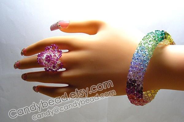 Rainbow bracelet; crystal bracelet; Swarovski bracelet; Glass bracelet;Elegant
