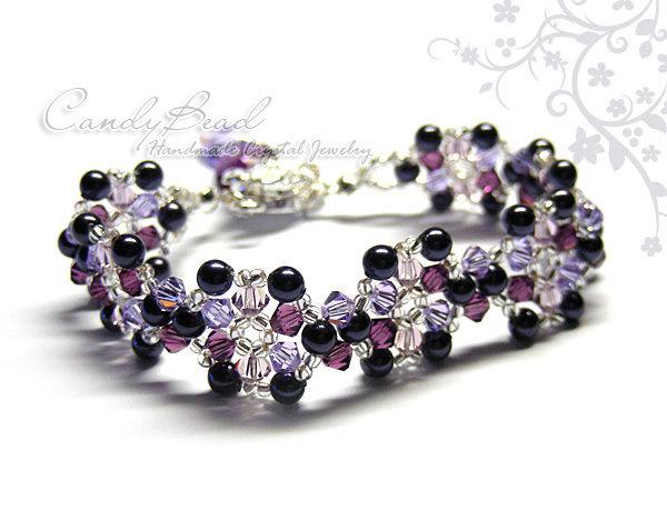 Crystal Bracelet; Swarovski Bracelet; Glass Bracelet; Blueberry Swarovski