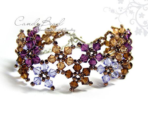 Crystal Bracelet; Swarovski Bracelet; Glass Bracelet; Sweet Brown and Purple