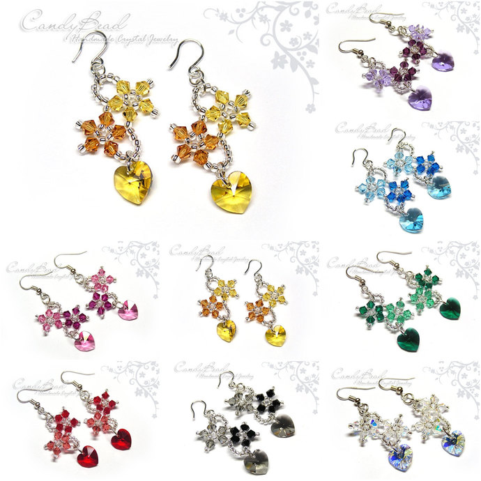 Swarovski earrings;crystal earrings;Swarovski Crystal Earrings, Flowers and