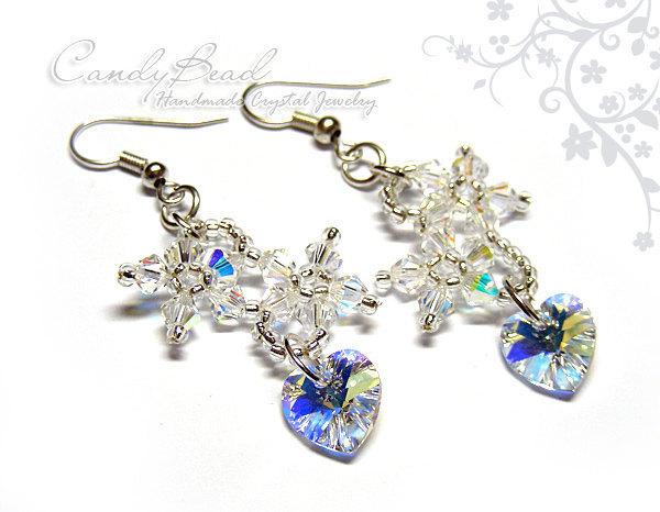 Swarovski earrings;crystal earrings;Swarovski Crystal Earrings, Flowers and