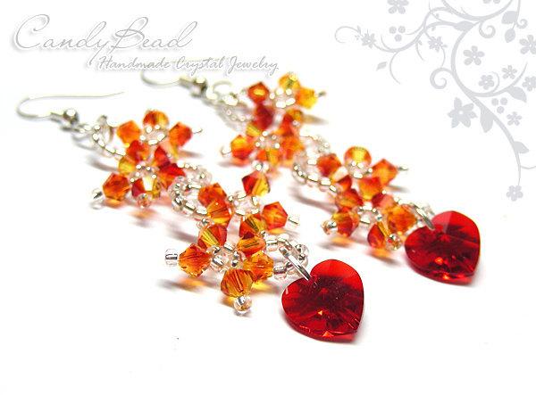 Swarovski Earrings, Fire Flower Dancing Swarovski Crystal Earrings (E011-06)