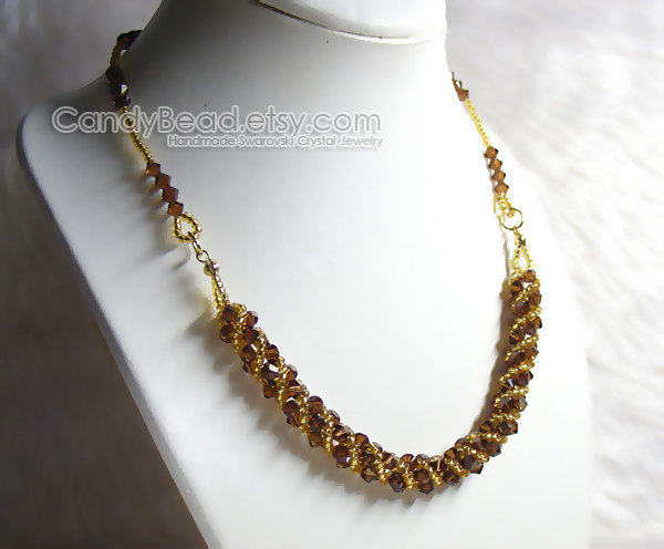 Crystal Necklace; Swarovski Necklace; Glass Necklace; Sweet Brown and Gold